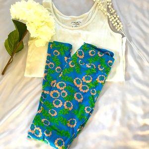 LuLaRoe Leggings in Blue, Green, Peach Florals